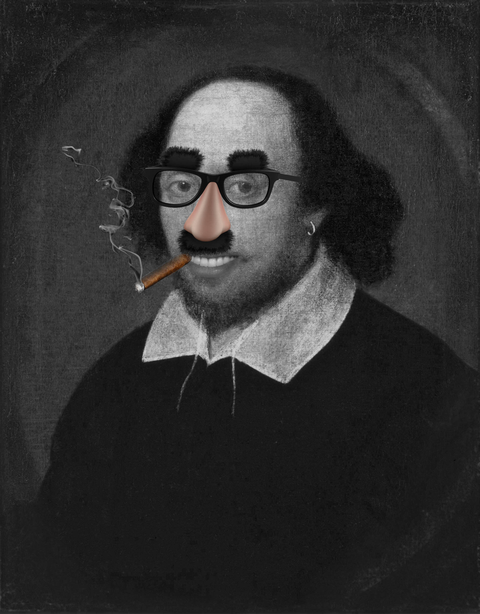 Shakespeare with Groucho glasses cigar and smoke.jpg