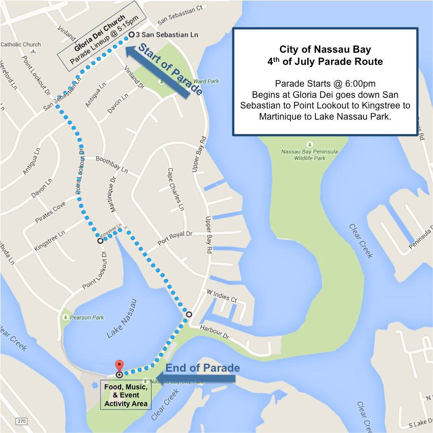 July 4th Nassau Bay Parade Map